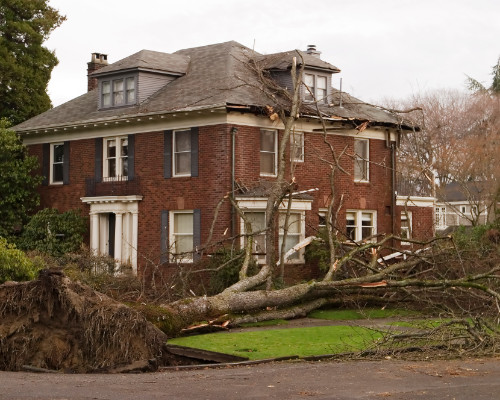 Storm Damaged Home With Fallen Tree
