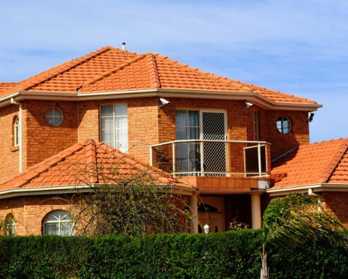 roof with terracotta tile roofing on it