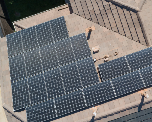 an array of solar panels on a residential property in denver co