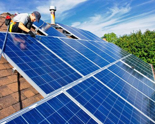 solar company installing new solar panels on a denver home